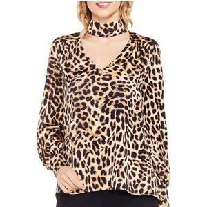Vince Camuto Choker Leopard Print Blouse